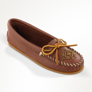 Womens Deerskin Beaded Moc Carmel