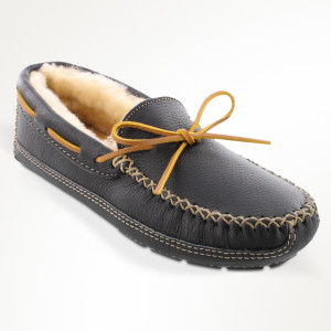 Men's Sheepskin Lined Moose Slipper Black