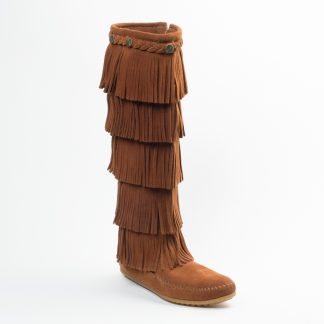 Women's 5 Layer Fringe Boot Brown